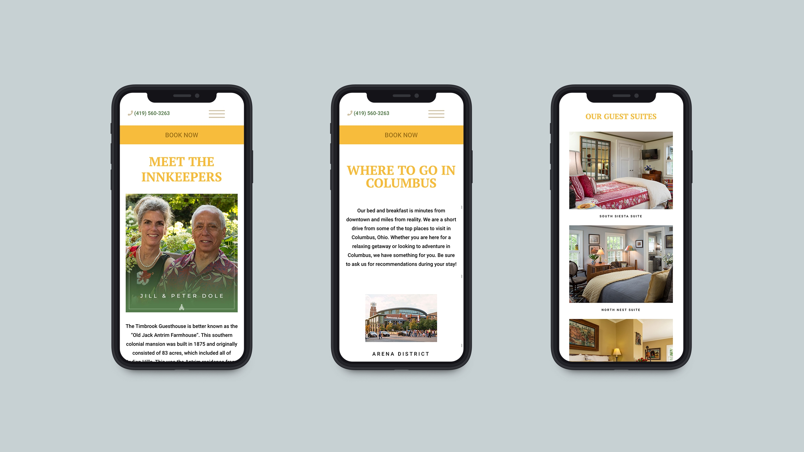 mobile screenshots of columbus marketing