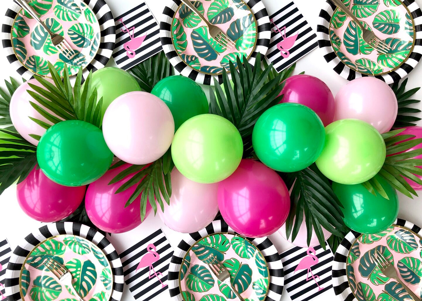 pink and green floral table arrangement