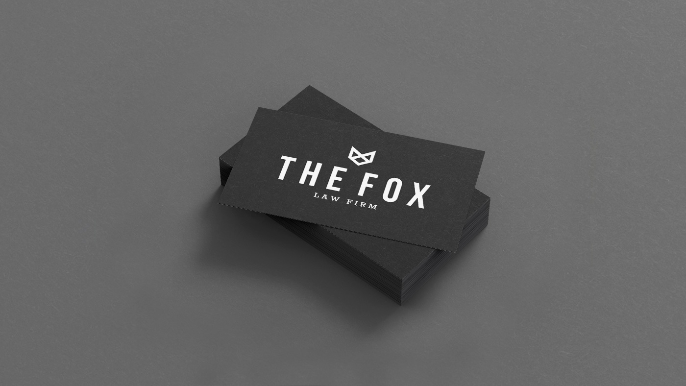business card design for fox law firm